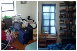 Literally the before and after or our dining room area