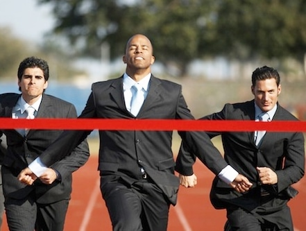 Business Executives Running in a Race