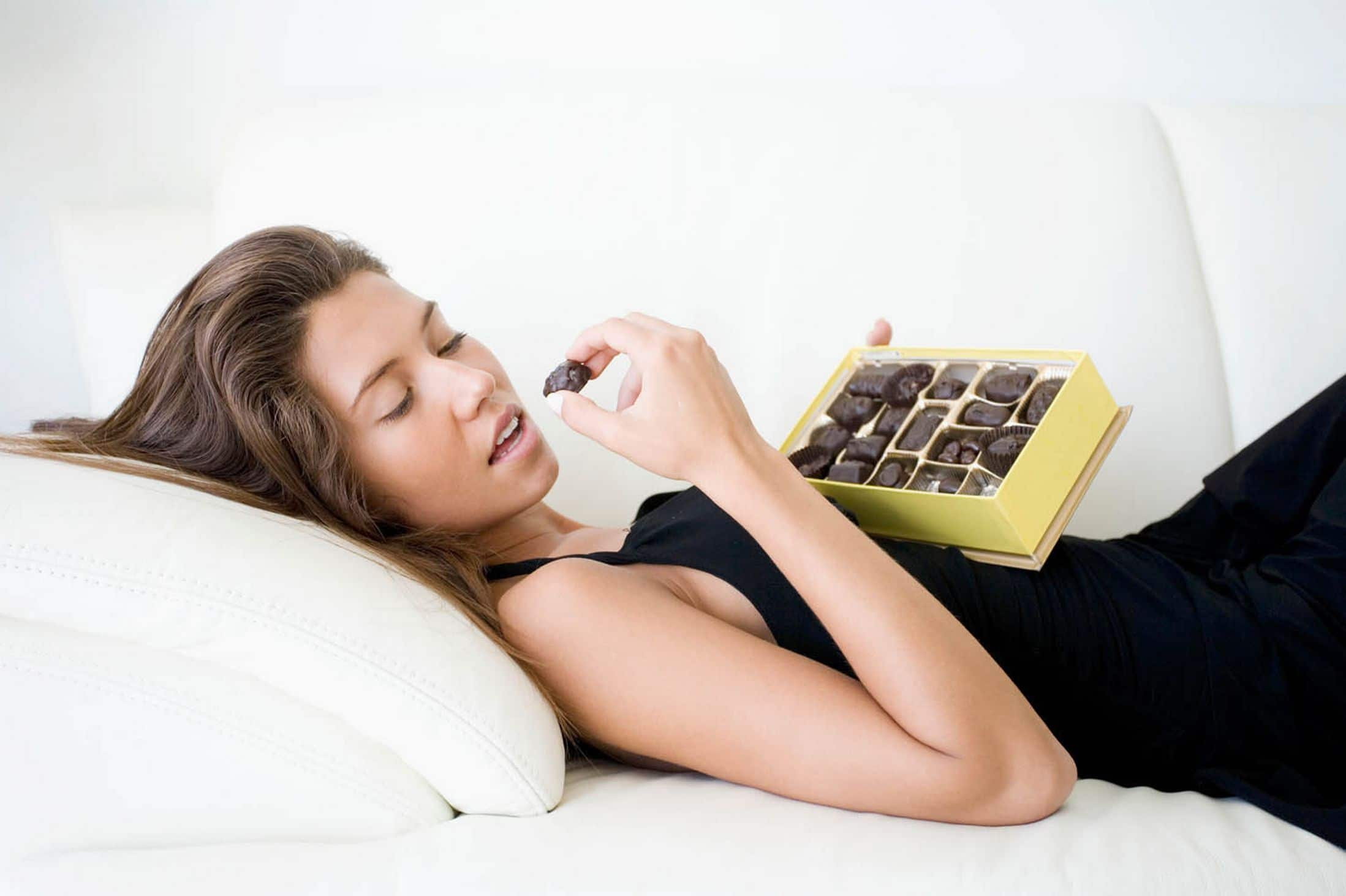 woman eating choc